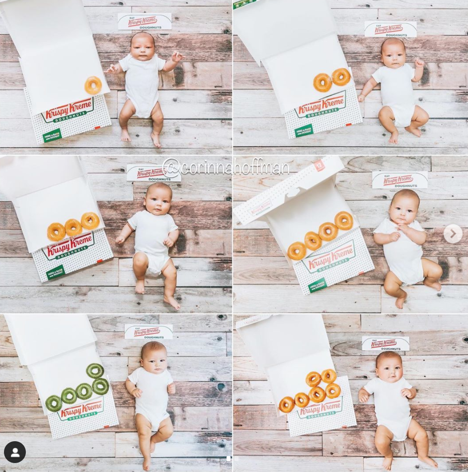 Monthly baby picture ideas with Krispy Kreme donut box