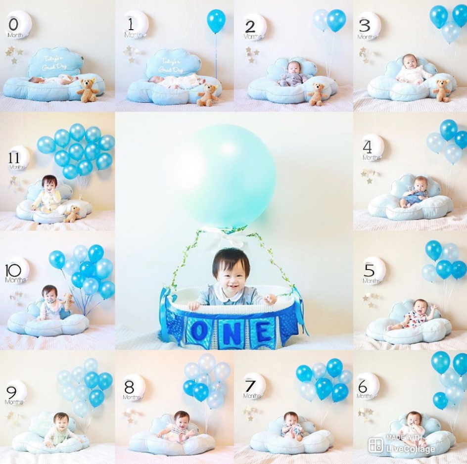 Monthly baby picture ideas using balloons to show how many months baby is