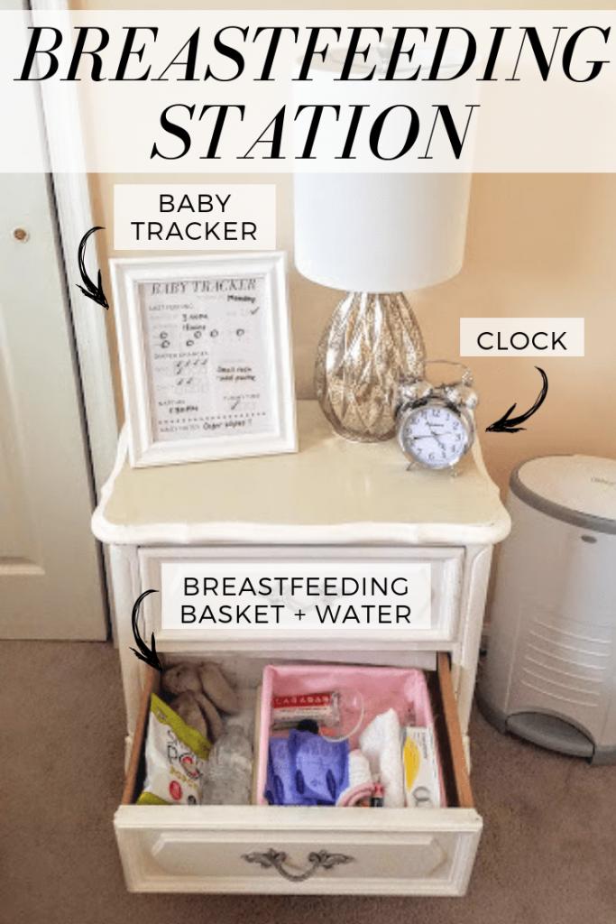 how to organize nursery breastfeeding station