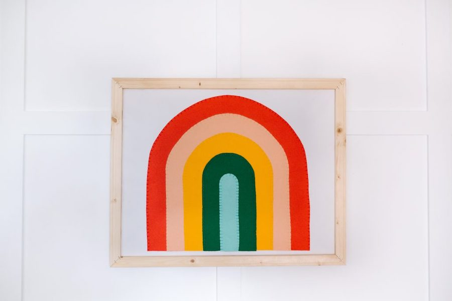 rainbow wooden sign