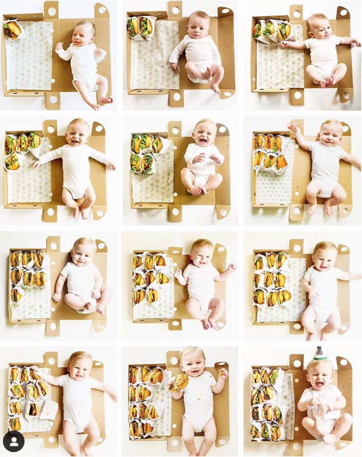 Monthly baby picture ideas with Shake Shack hamburgers