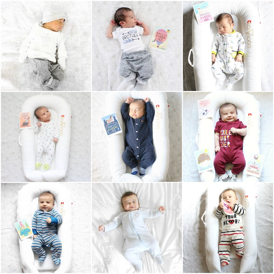 Monthly baby picture ideas putting baby in Dock-A-Tot each month