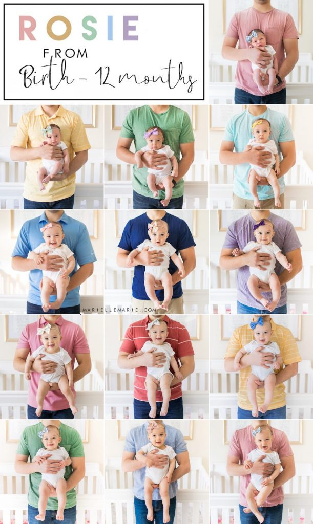 Monthly baby picture ideas with dad holding baby in his arms