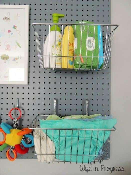 how to organize a nursery pegboard