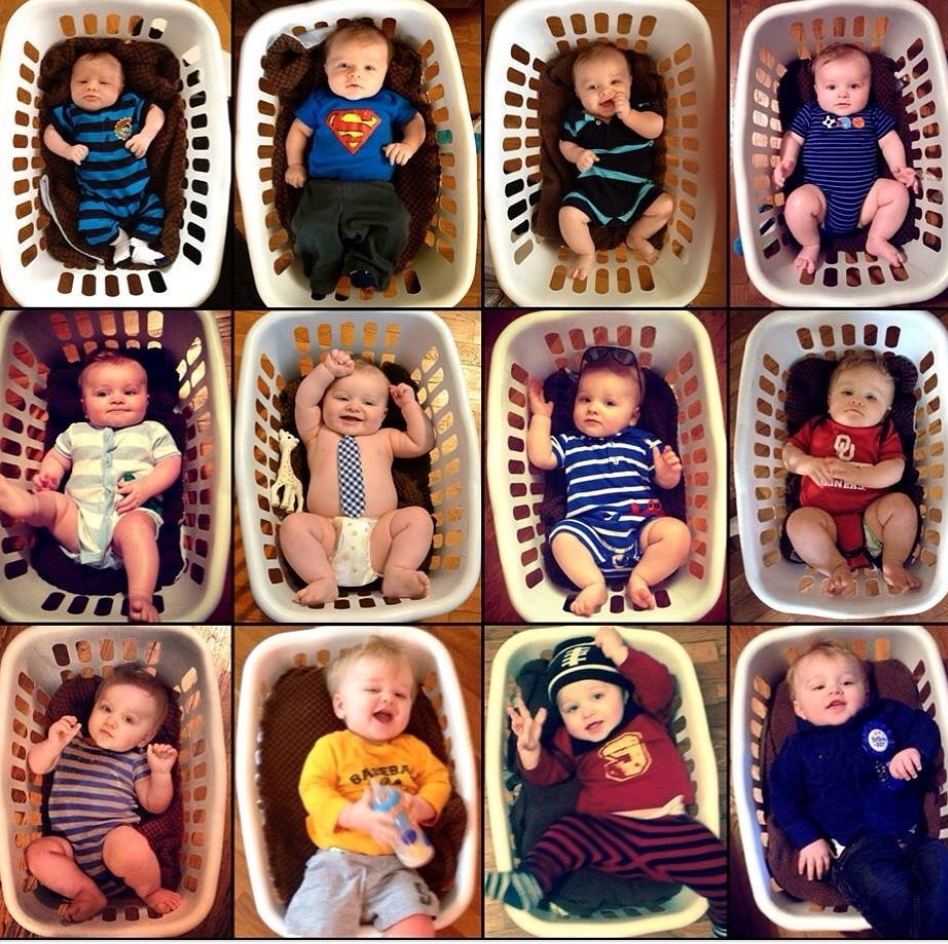Monthly baby photo ideas with baby in laundry basket