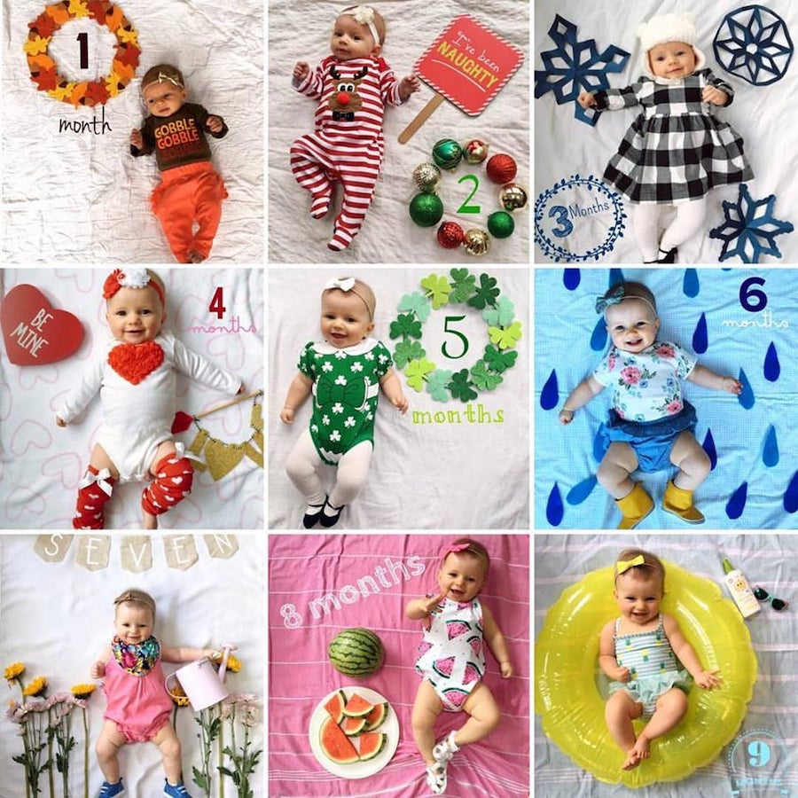 Monthly baby photo ideas using seasonal props