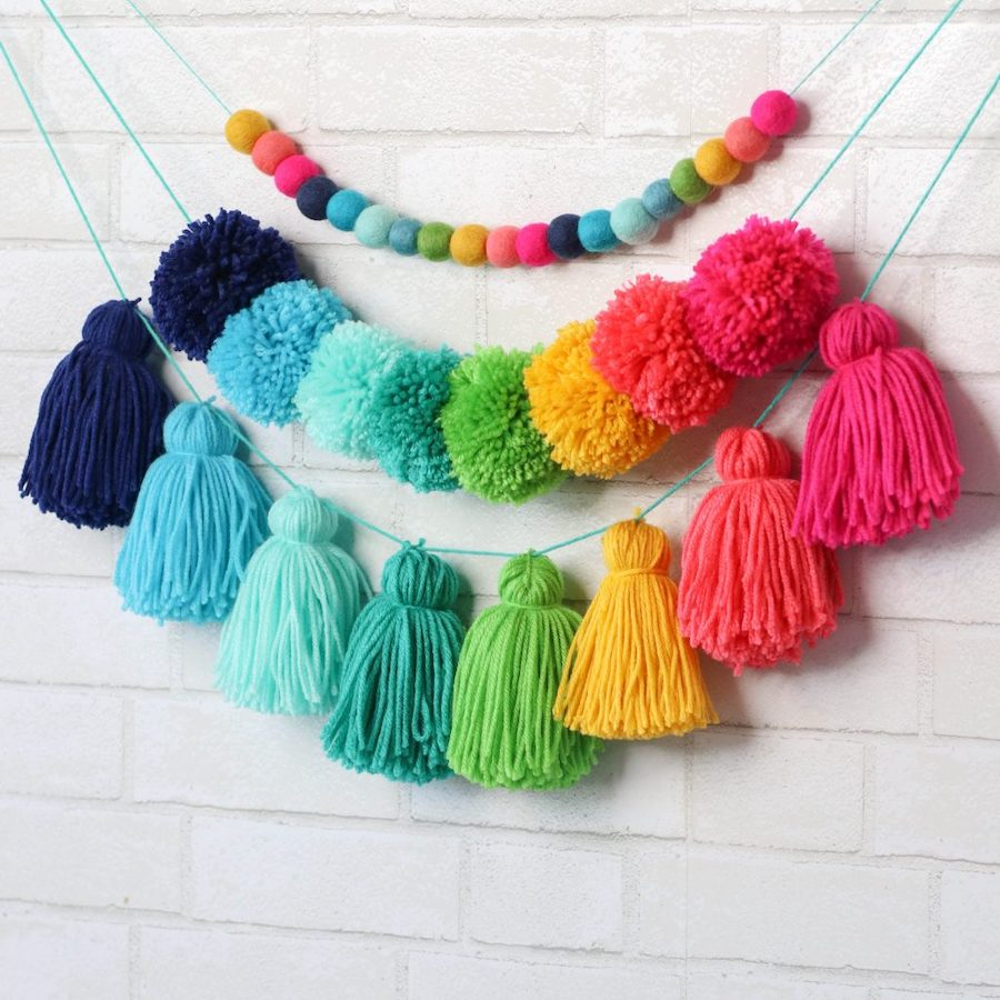 rainbow yarn tassel garland