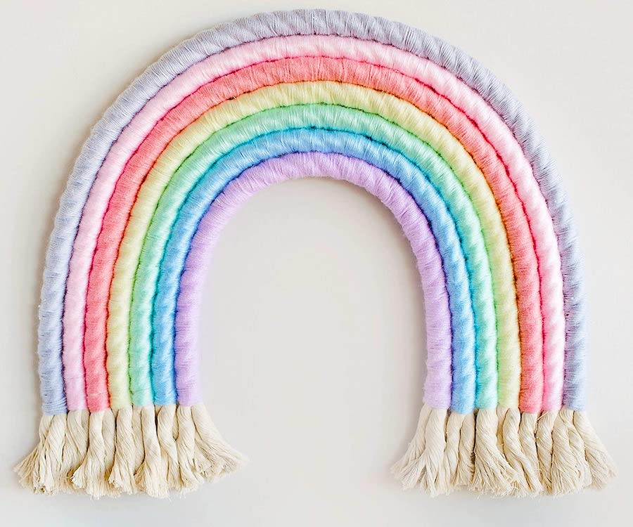 rainbow nursery yarn decor