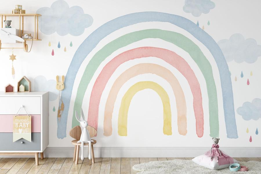 rainbow nursery wall mural