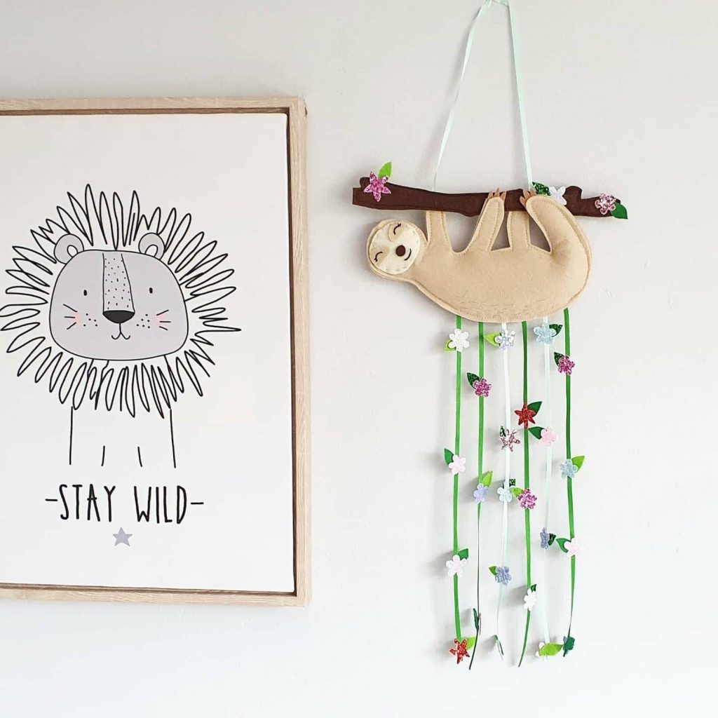 sloth theme felt wall hanging