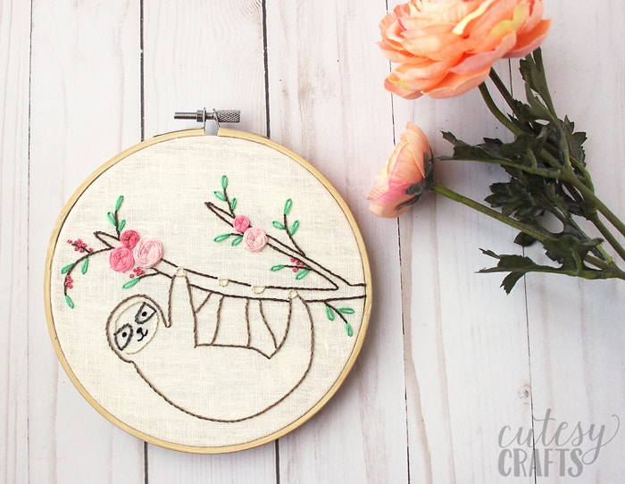 sloth theme nursery embroidery hoop decor for wall