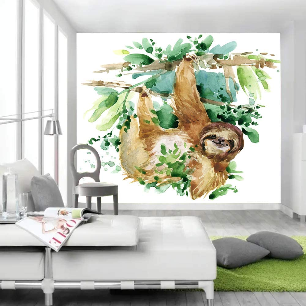 sloth theme watercolor tapestry