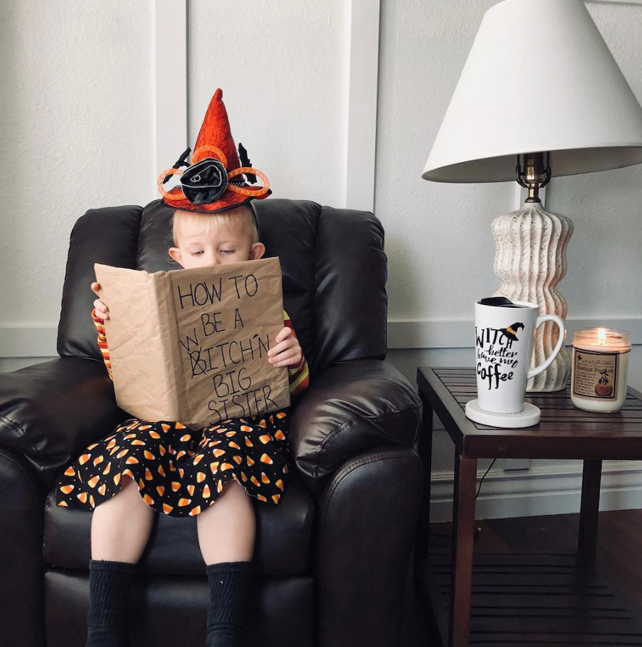 big sister halloween pregnancy announcement