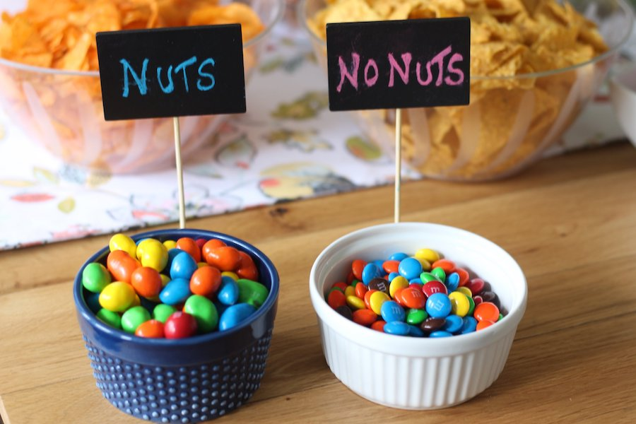 M&M candies with nuts and no nuts for gender reveal party food