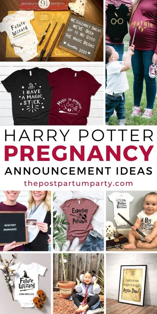 Harry Potter pregnancy announcement photo collage