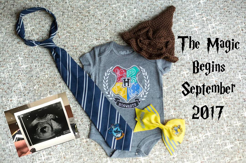Harry Potter pregnancy announcement with onesie and ultrasound photo