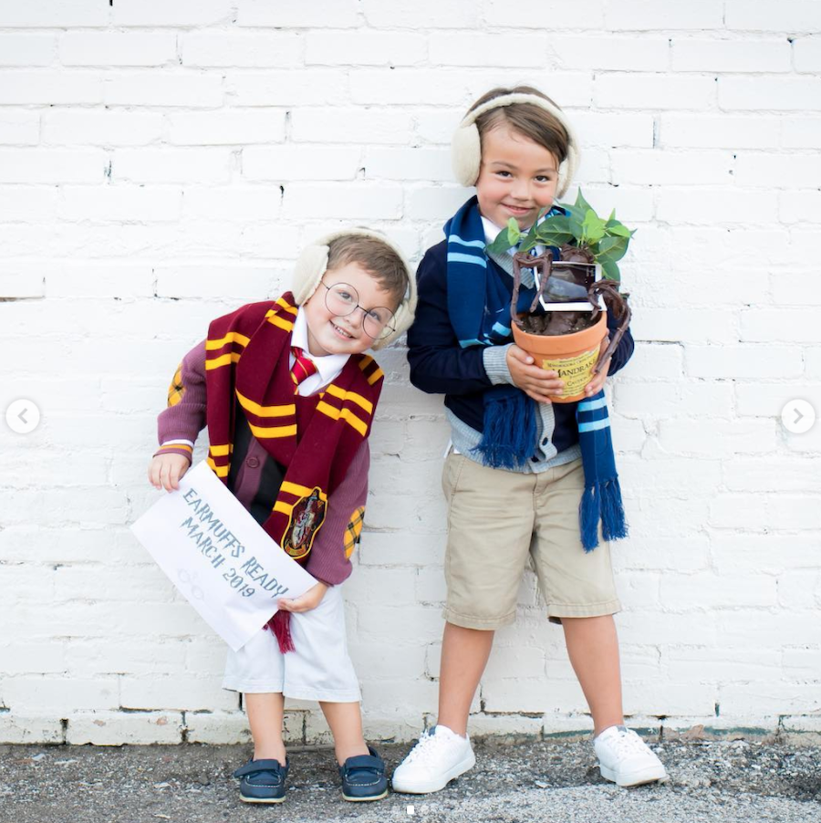 Brothers announcing a new baby - Harry Potter inspired announcement with brothers holding mandrake and wearing earmuffs