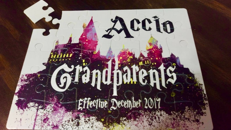 Accio Grandparents Harry Potter puzzle to announce a new baby