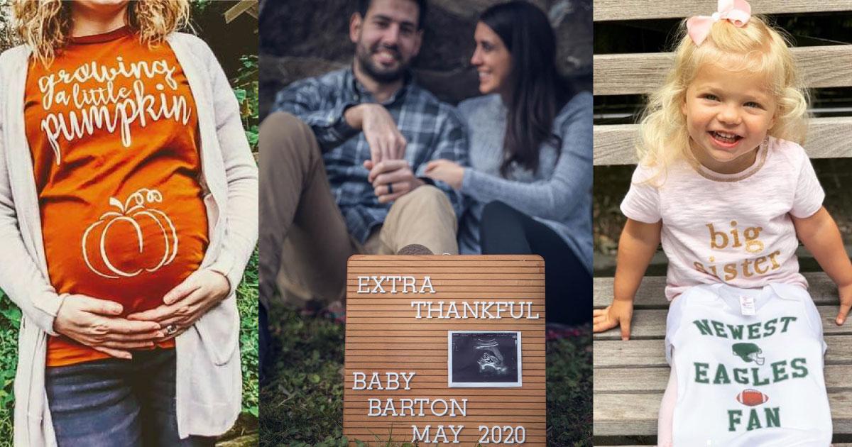 Thanksgiving pregnancy announcement photo collage