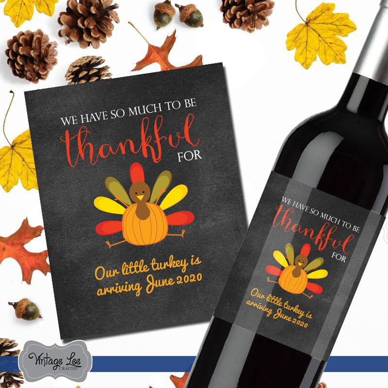 Thanksgiving pregnancy announcement wine label