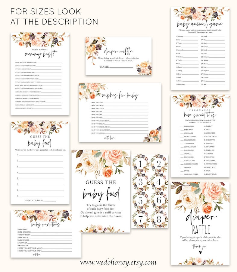 fall floral themed baby shower game printables
