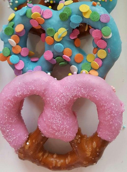 colored pretzels for gender reveal food