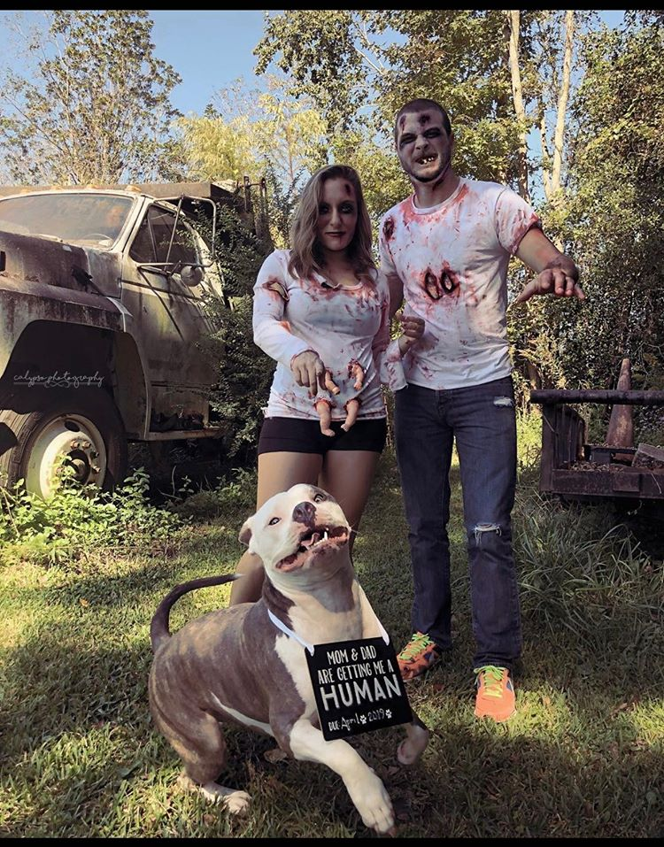 Zombie pregnancy announcement with dog
