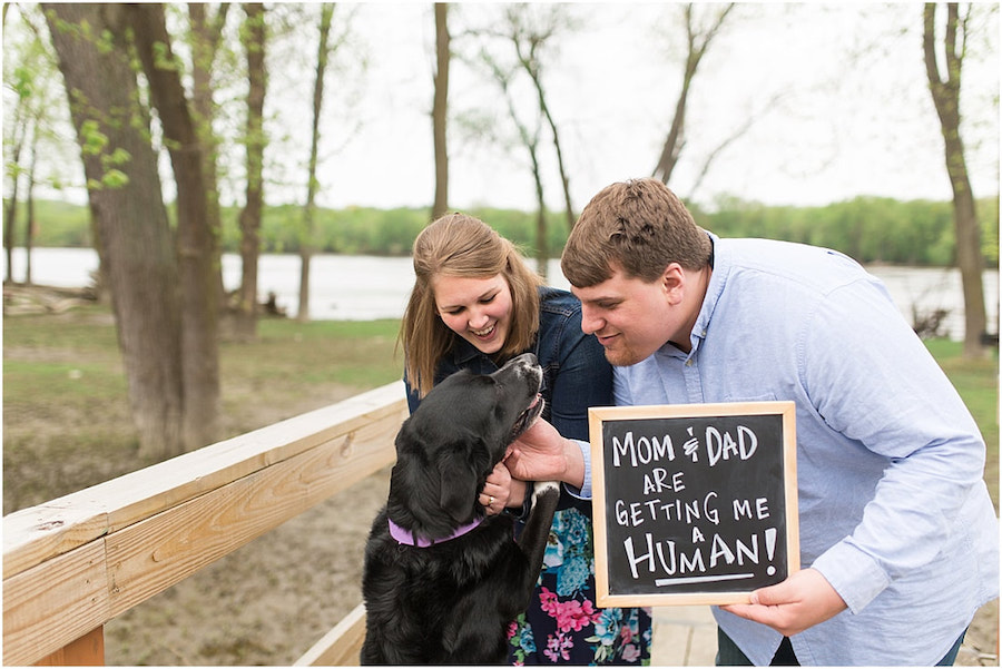 mom and dad with dog pregnancy announcement