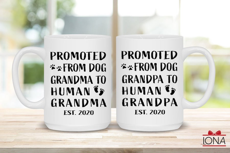 dog pregnancy announcements mugs for the new grandparents