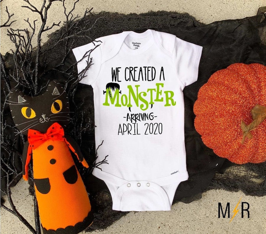 monster baby onesie to announce pregnancy on Halloween