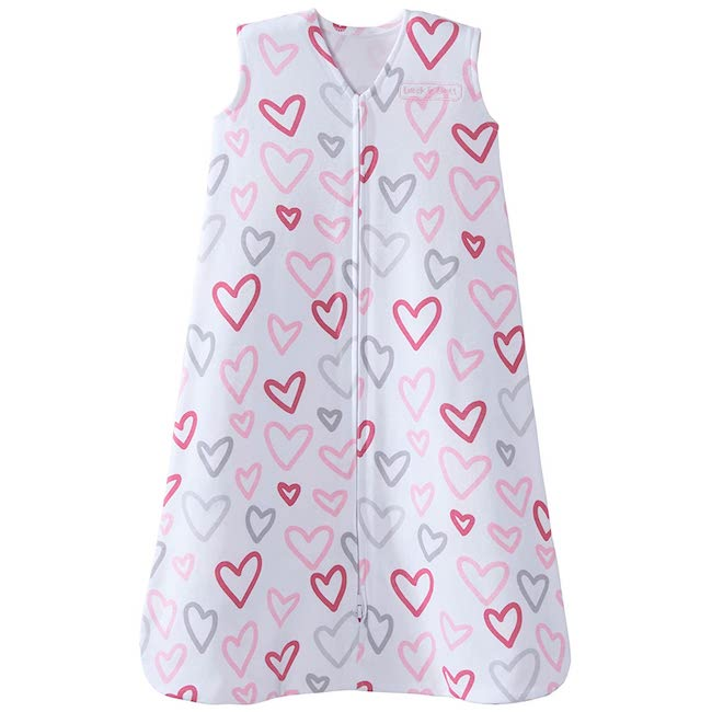 Sleep sack with hearts on it - can help prevent toddlers from climbing out of crib