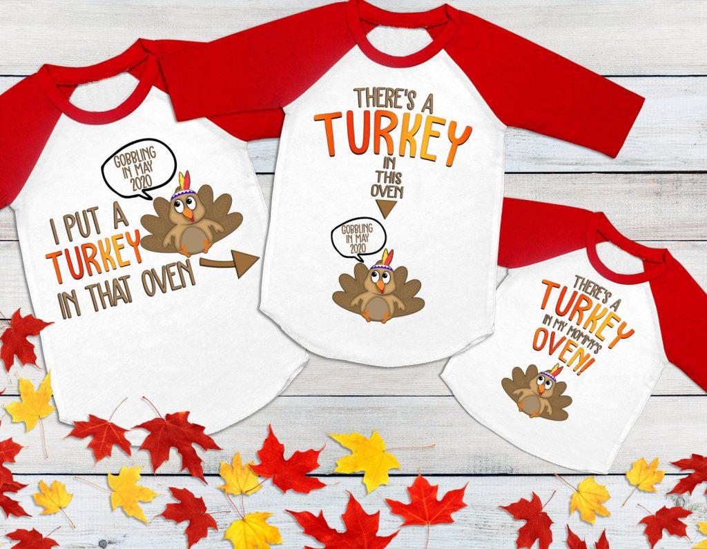 Turkey pregnancy announcement t-shirts