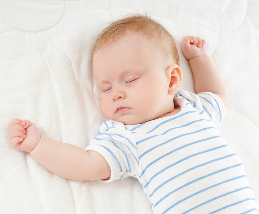 baby sound alseep on back