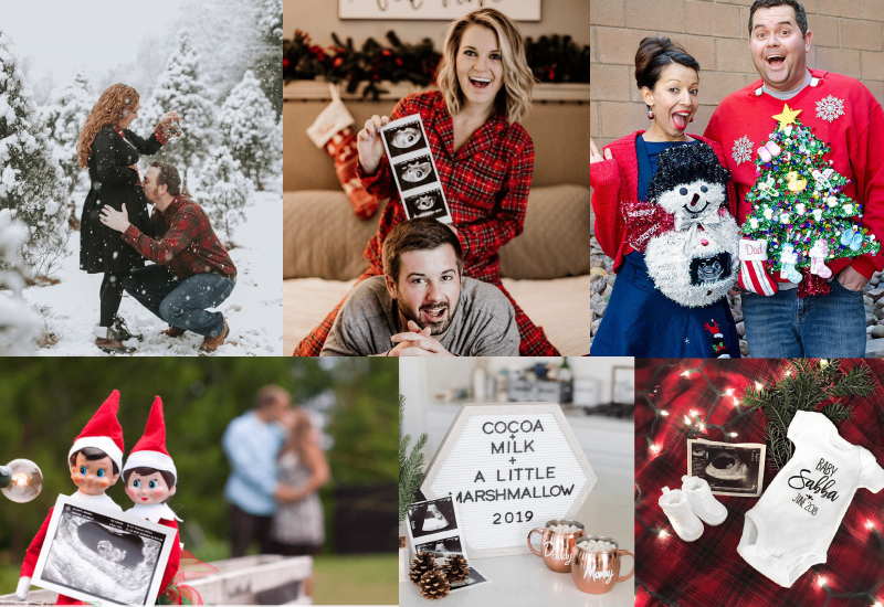 Christmas pregnancy announcement photo collage