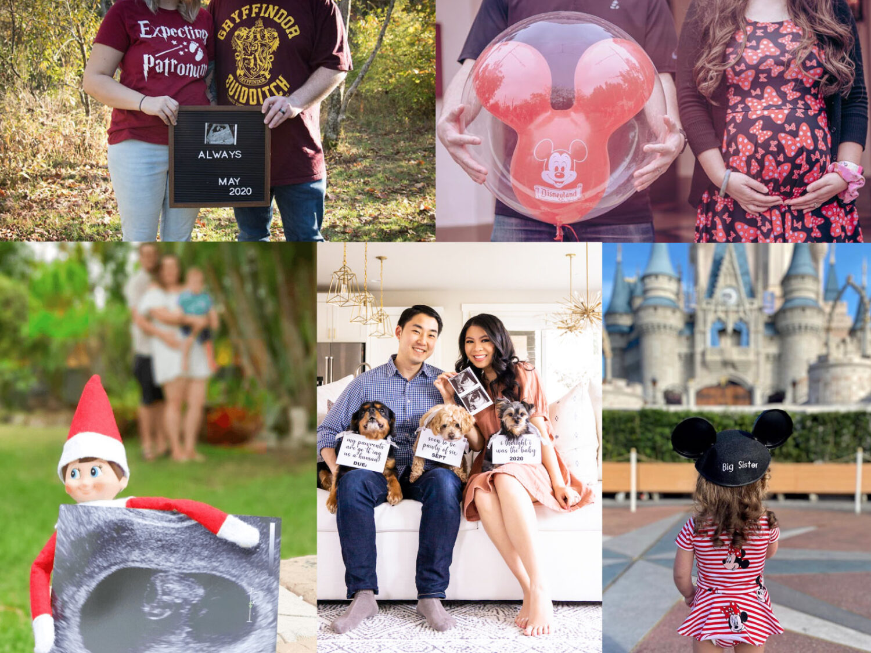pregnancy announcement photo collage