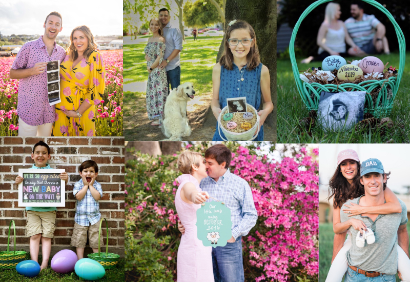 Spring pregnancy announcement photo collage
