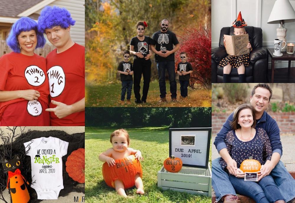 Halloween pregnancy announcement collage
