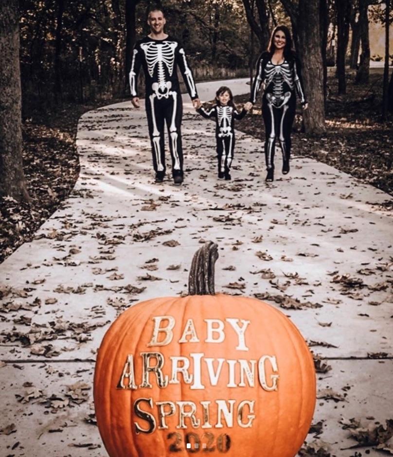 pumpkin and skeleton Halloween pregnancy announcement