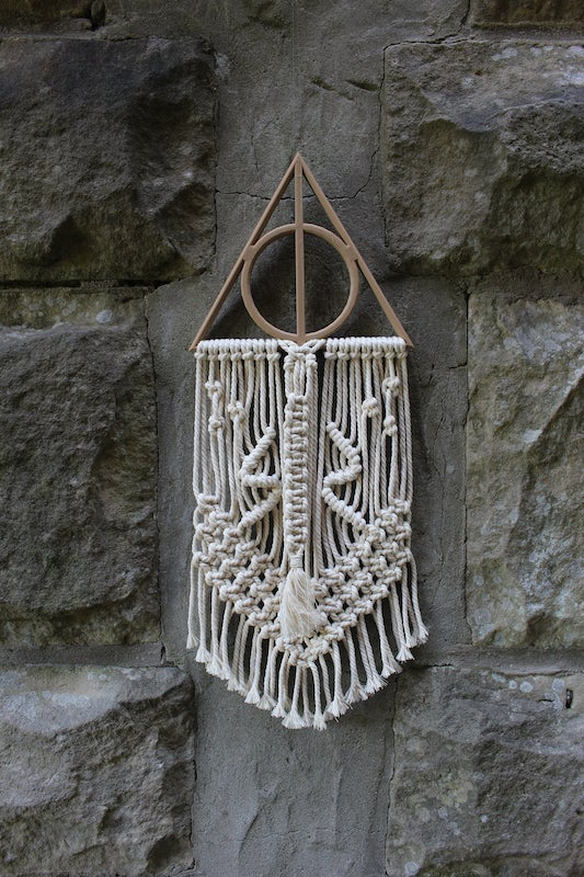 Harry Potter Deathly Hallows macrame wall hanging