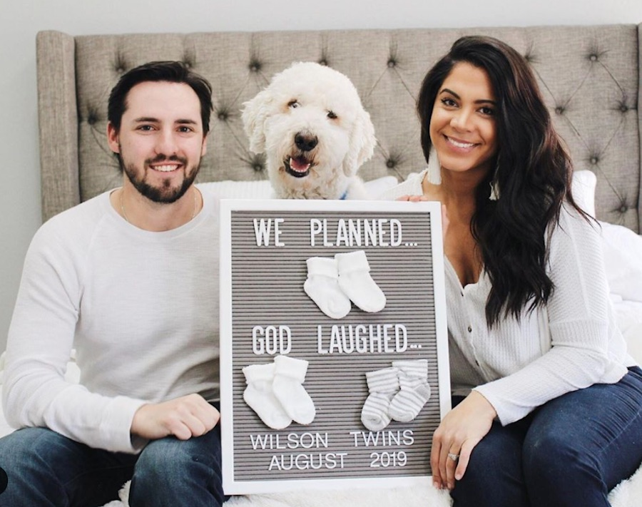 twin pregnancy announcement with dog