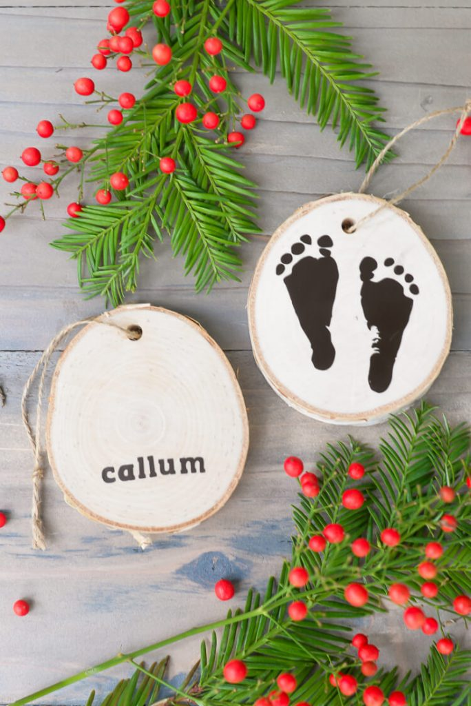 DIY babys first Christmas ornament footprints