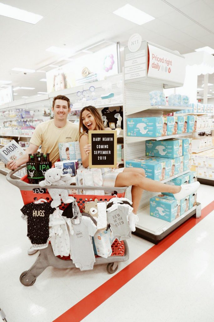 couple announcing pregnancy at Target