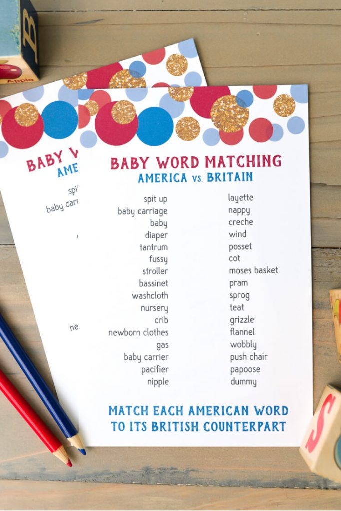 printable baby shower game british english matching
