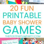 printable baby shower games pin image