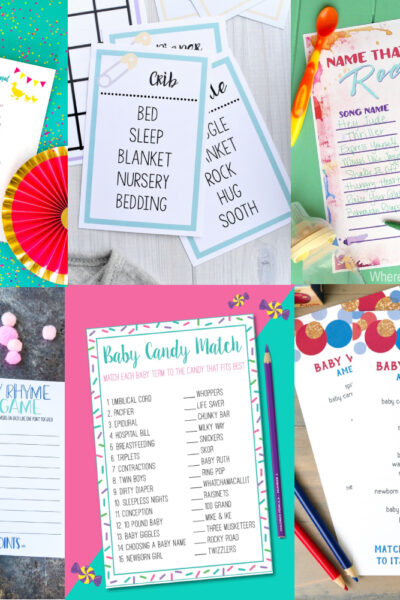 printable baby shower games collage