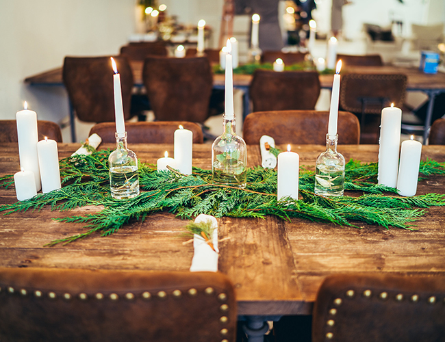 rustic winter baby shower table