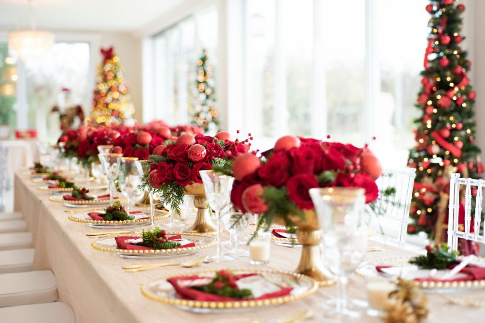 baby shower with Christmas decorations