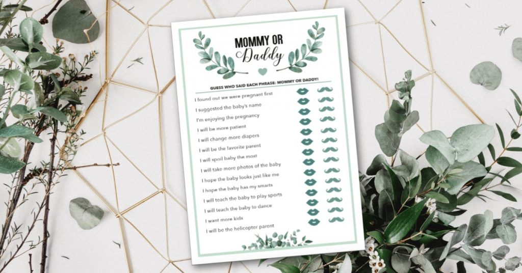 printable baby shower game - mommy or daddy
