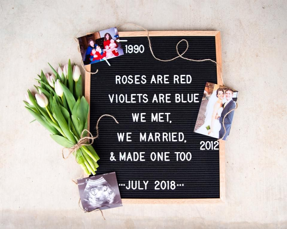 letter board pregnancy announcement