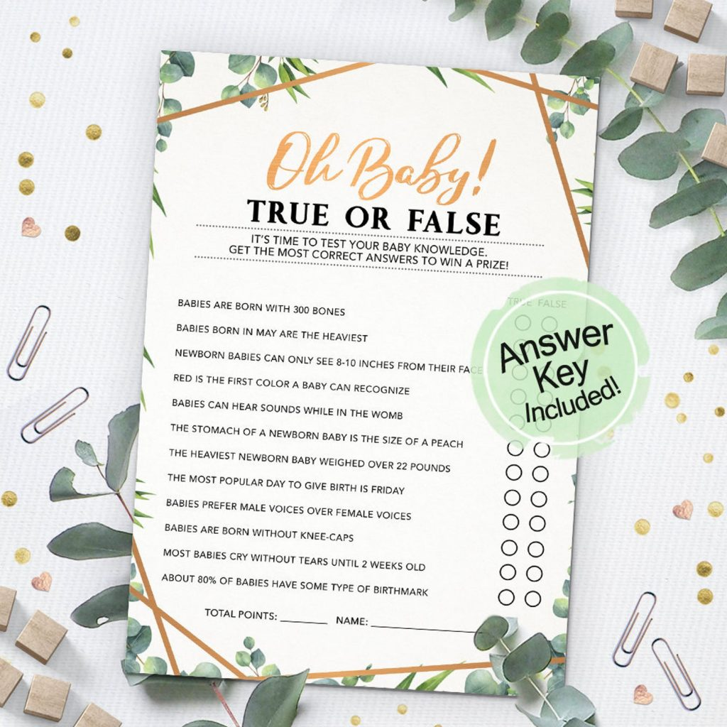 printable baby shower game - true or false